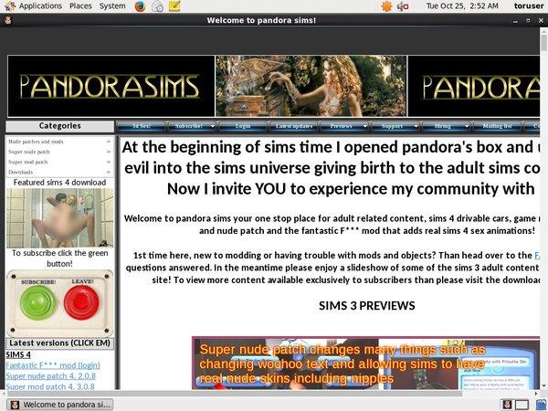 Pandora Sims Free Code