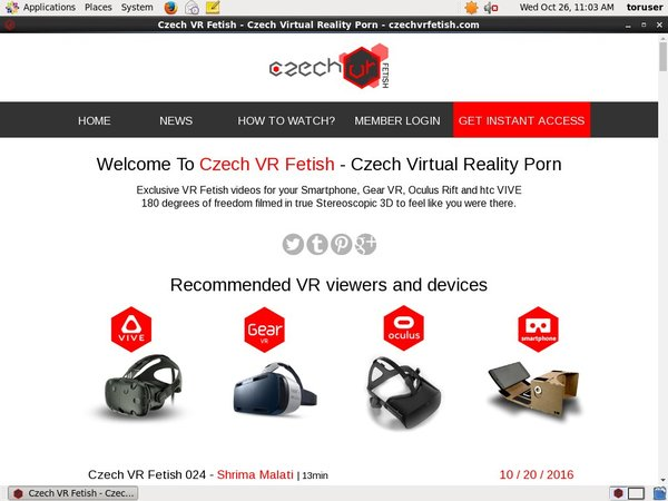 Czechvrfetish Sign Up Page